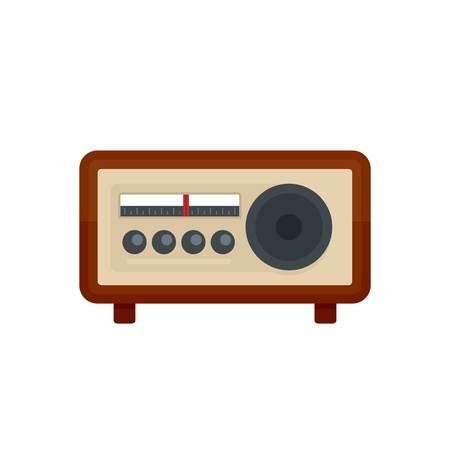Vintage radio icon. Flat illustration of vintage radio vector icon for web isolated on white