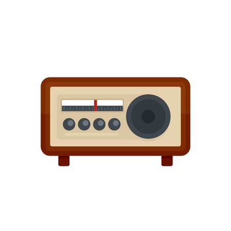 Vintage radio icon. Flat illustration of vintage radio vector icon for web isolated on white