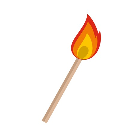 Burning matche icon. Flat illustration of burning matche vector icon for web isolated on white Illustration