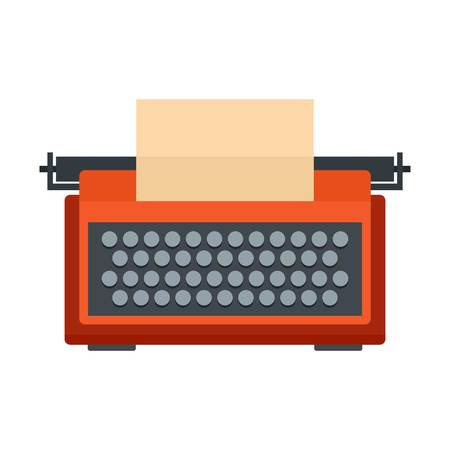 Red typewriter icon. Flat illustration of red typewriter vector icon for web isolated on white