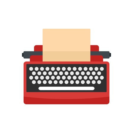 Mid century typewriter icon. Flat illustration of mid century typewriter vector icon for web isolated on white