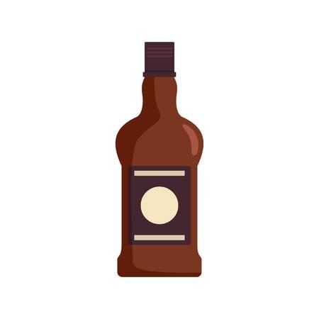 Bottle of cognac icon, flat style Stock Illustratie