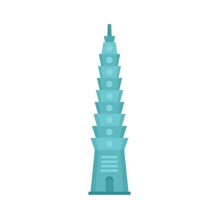 Blue tower icon. Flat illustration of blue tower vector icon for web isolated on white