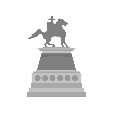 Man at horse statue icon. Flat illustration of man at horse statue vector icon for web isolated on white