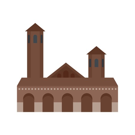 Old building icon, flat style 免版税图像 - 105216698