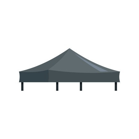 Black tent icon. Flat illustration of black tent vector icon for web isolated on white