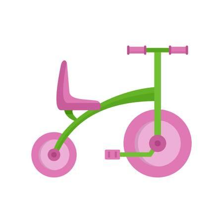 Mädchen Dreirad-Ikone, flacher Stil Vektorgrafik
