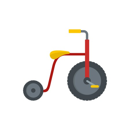 Red tricycle icon, flat style Stock Illustratie