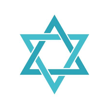 Star of David icon, flat style