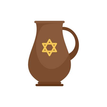 Jewish jug icon, flat style