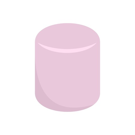 Pink marshmallow icon. Flat illustration of pink marshmallow vector icon for web isolated on white  イラスト・ベクター素材