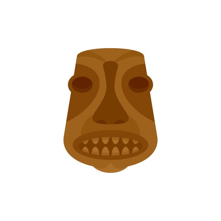 Tiki idol icon. Flat illustration of tiki idol vector icon for web isolated on white 일러스트