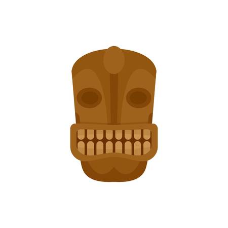 Tiki head idol icon. Flat illustration of tiki head idol vector icon for web isolated on white