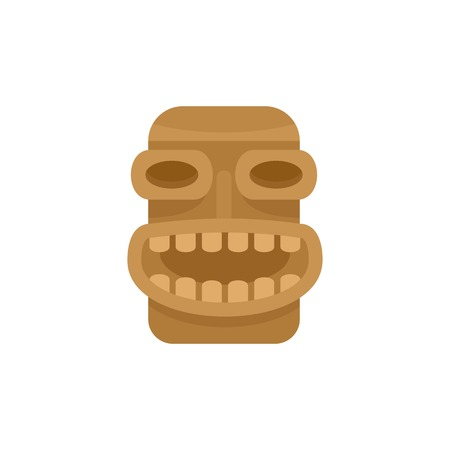 Tiki wood icon. Flat illustration of tiki wood vector icon for web isolated on white