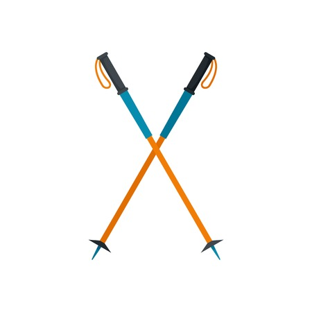 Walking sticks icon. Flat illustration of walking sticks vector icon for web isolated on white
