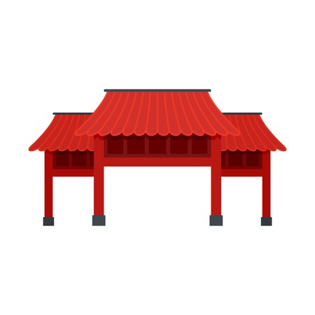 Red asian arch icon, flat style