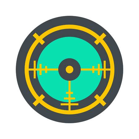 Police aim radar icon, flat style Illustration