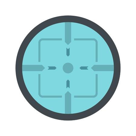 Sniper elite aim icon, flat style 向量圖像