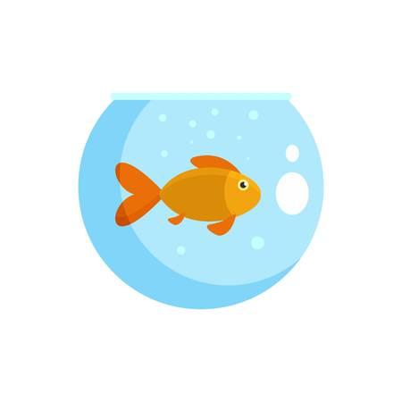 Fish in round aquarium icon, flat style