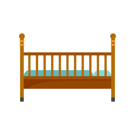 Wood baby bed icon. Flat illustration of wood baby bed vector icon for web isolated on white