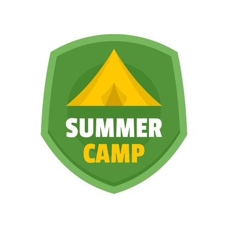 Summer tent camp logo, flat style