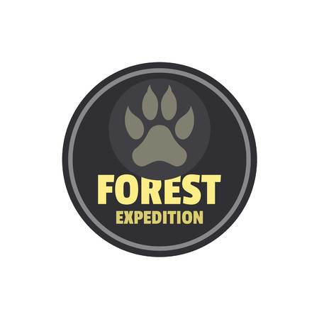 Forest expedition logo, flat style Stock Illustratie