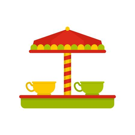 Tea cup carousel icon. Flat illustration of tea cup carousel vector icon for web isolated on white