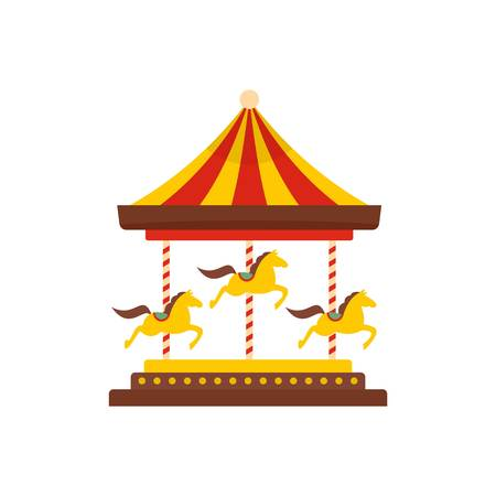 Horse carousel icon. Flat illustration of horse carousel vector icon for web isolated on white