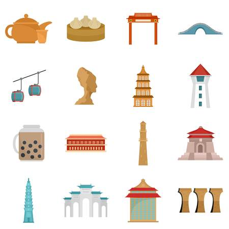 Taipei taiwan city skyline icons set, flat style