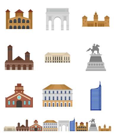 Milan Italy city skyline icons set, flat style Illustration