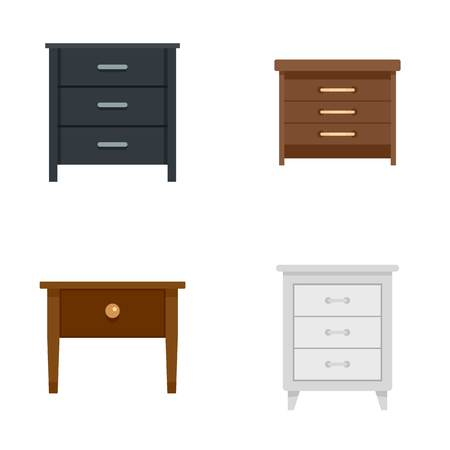 Nightstand bedside icons set. Flat illustration of 4 nightstand bedside vector icons isolated on white