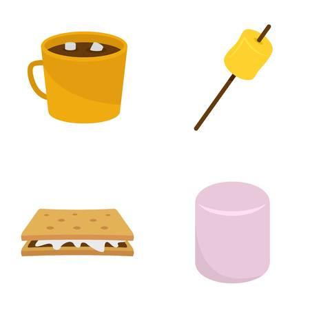Marshmallow smores candy icons set flat style Illustration