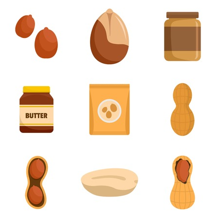 Peanut nuts butter jar icons set, flat style