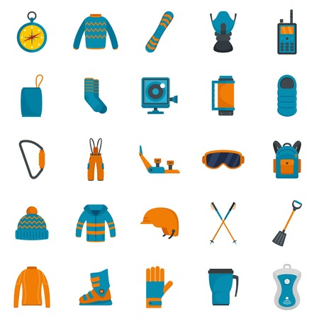 Snowboarding equipment ski winter snow icons set. Flat illustration of 25 snowboarding equipment ski winter snow vector icons isolated on white Çizim