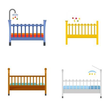 Baby crib cradle bed icons set. Flat illustration of 4 baby crib cradle bed vector icons isolated on white Vettoriali