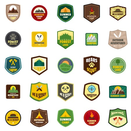 Scout badge emblem stamp icons set, flat style 向量圖像