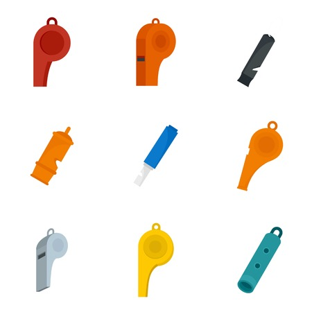 Whistle coaching blow icons set. Flat illustration of 9 whistle coaching blow vector icons isolated on white