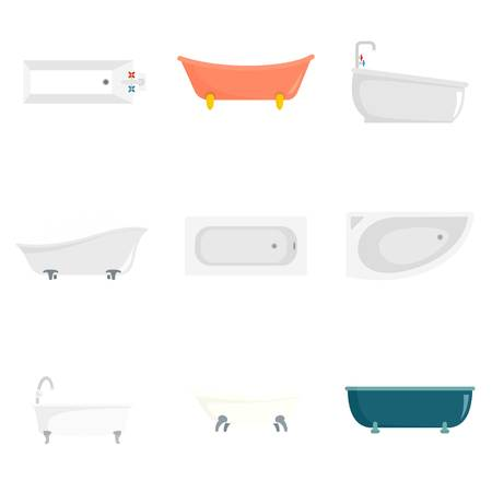 Bathtub interior icons set. Flat illustration of 9 bathtub interior vector icons isolated on white Illustration