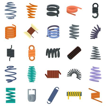Coil spring cable icons set. Flat illustration of 25 coil spring cable vector icons isolated on white 写真素材 - 114753018