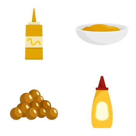Mustard seeds sauce bottle icons set, flat style 向量圖像