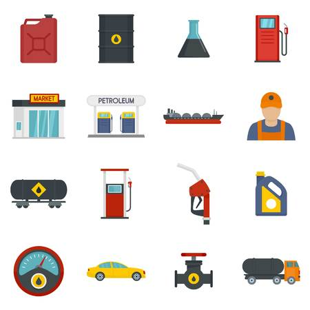 Petrol station gas fuel shop icons set, flat style
