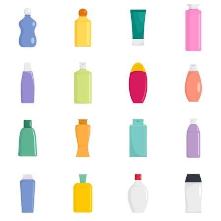 Shampoo bottle hair body washing soap care icons set. Flat illustration of 16 shampoo bottle hair body washing soap care vector icons isolated on white