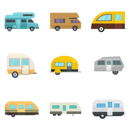 Motorhome car trailer house icons set, flat style