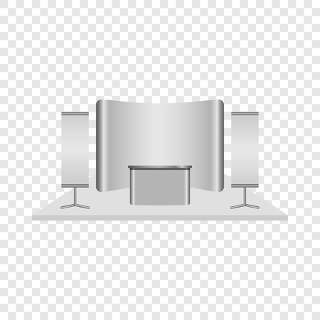 Reception desk mockup. Realistic illustration of reception desk vector mockup for on transparent background