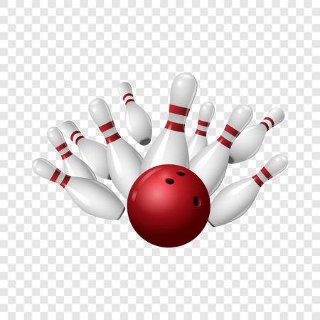 Icona di sciopero di bowling. Illustrazione realistica dell'icona di vettore di sciopero di bowling per su sfondo trasparente Vettoriali