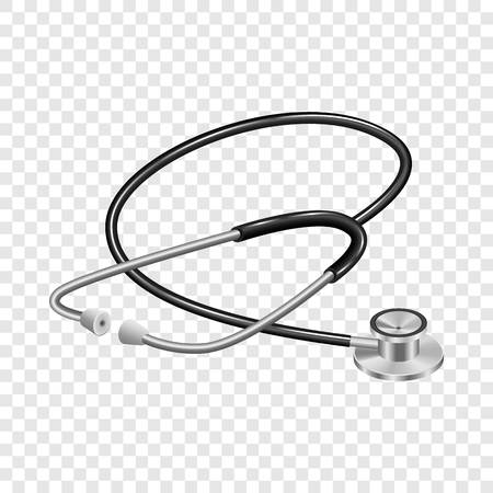Medical stethoscope mockup. Realistic illustration of medical stethoscope vector mockup for on transparent background Ilustrace