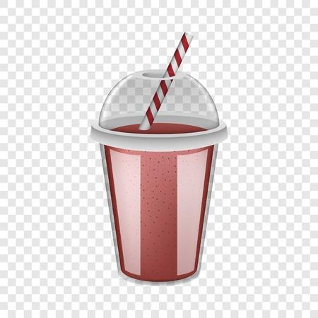 Maquette de smoothie rouge de tasse en plastique. Illustration réaliste de la maquette de vecteur de smoothie rouge tasse en plastique pour sur fond transparent Vecteurs