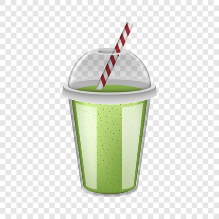 Plastic cup green smoothie mockup. Realistic illustration of plastic cup green smoothie vector mockup for on transparent background
