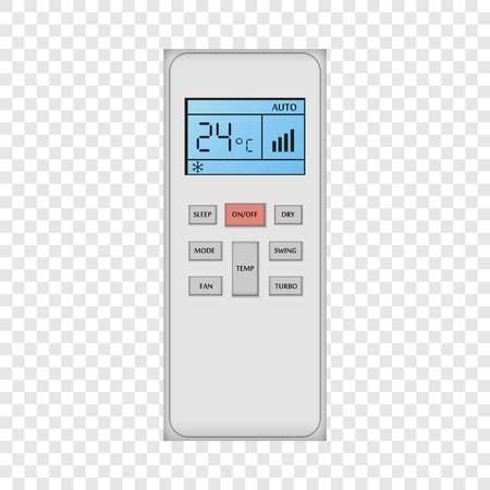 Maquette de télécommande de conditionneur. Illustration réaliste de la maquette de vecteur de télécommande de conditionneur pour sur fond transparent