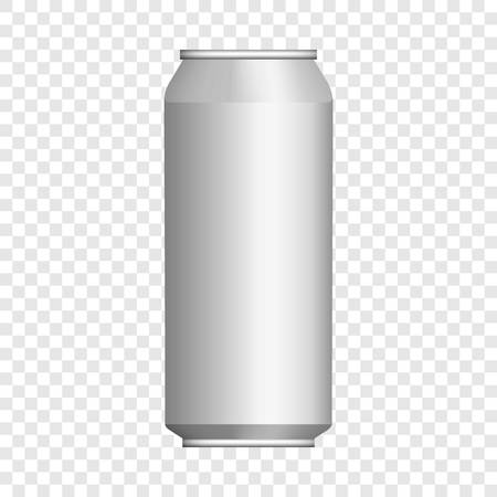 Drink tin can mockup. Realistic illustration of drink tin can vector mockup for on transparent background